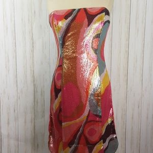 H&M Pink Sequin Strapless Bodycon Party Dress New